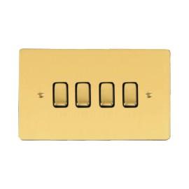 4 Gang 2 Way 10A Rocker Grid Switch in Polished Brass and Black Trim Stylist Grid Flat Plate