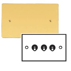 3 Gang 2 Way 20A Dolly Switch in Polished Brass Plate and Dolly, Stylist Grid Range