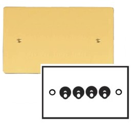 4 Gang 2 Way 20A Dolly Switch in Polished Brass Plate and Dolly, Stylist Grid Flat Plate Range