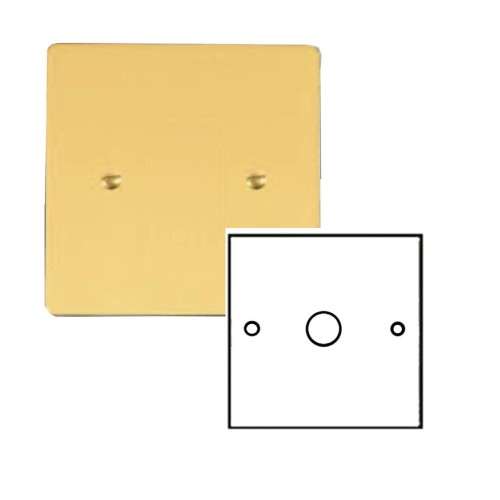 1 Gang 2 Way Dimmer Switch 400W in Polished Brass Plate and Knob, Stylist Grid Flat Plate Range