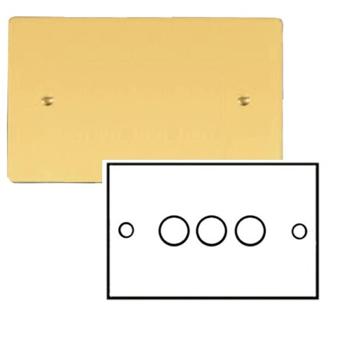 3 Gang 2 Way Dimmer Switch 400W in Polished Brass Plate and Knob Stylist Grid Flat Plate Range