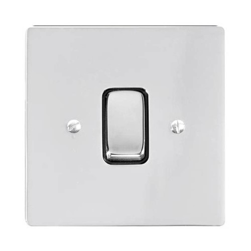 1 Gang 2 Way 10A Rocker Grid Switch in Polished Chrome and a Black Plastic Trim Stylist Grid Flat Plate
