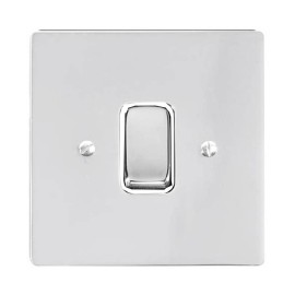 1 Gang 2 Way 10A Rocker Grid Switch in Polished Chrome and a White Plastic Trim Stylist Grid Flat Plate