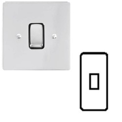 1 Gang Architrave 20A Rocker Grid Switch in Polished Chrome and Black Plastic Trim Stylist Grid Flat Plate