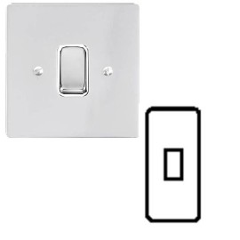 1 Gang Architrave 20A Rocker Grid Switch in Polished Chrome and White Plastic Trim Stylist Grid Flat Plate