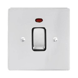 1 Gang 20A Double Pole Switch with Neon in Polished Chrome and a Black Trim Stylist Grid Flat Plate