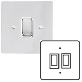 2 Gang 2 Way 10A Rocker Grid Switch in Polished Chrome and a White Plastic Trim Stylist Grid Flat Plate