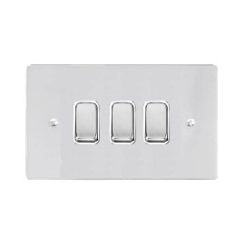 3 Gang 2 Way 10A Rocker Grid Switch in Polished Chrome and a White Plastic Trim Stylist Grid Flat Plate