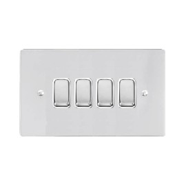 4 Gang 2 Way 10A Rocker Grid Switch in Polished Chrome and a White Plastic Trim Stylist Grid Flat Plate