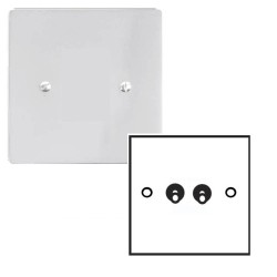 2 Gang 2 Way 20A Dolly Switch in Polished Chrome Plate and Dolly Stylist Grid Range