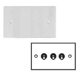 3 Gang 2 Way 20A Dolly Switch in Polished Chrome Plate and Dolly, Stylist Grid Range
