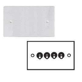 4 Gang 2 Way 20A Dolly Switch in Polished Chrome Plate and Dolly, Stylist Grid Range