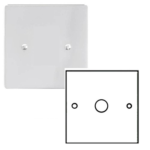 1 Gang 2 Way Dimmer Switch 600W in Polished Chrome Plate and Knob Stylist Grid Flat Plate Range