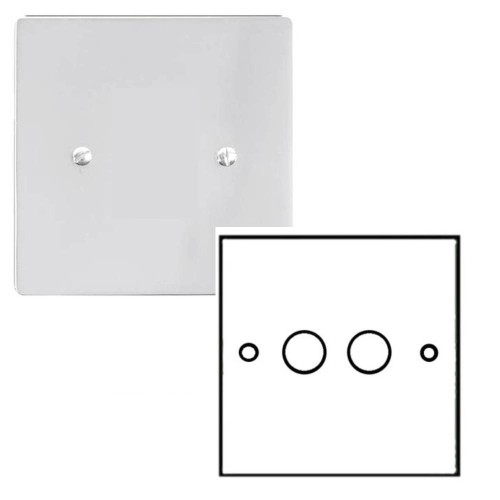 2 Gang 2 Way Dimmer Switch 400W in Polished Chrome Plate and Knob Stylist Grid Range