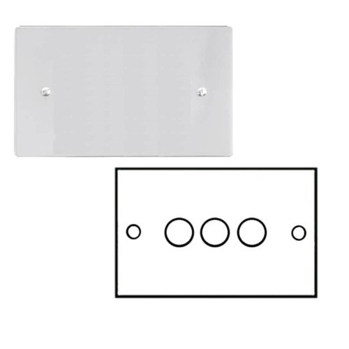 3 Gang 2 Way Dimmer Switch 400W in Polished Chrome Flat Plate and Knob Stylist Grid Range