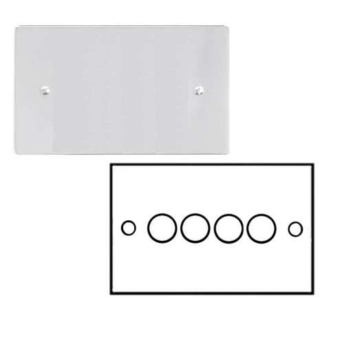 4 Gang 2 Way Dimmer Switch 400W in Polished Chrome Flat Plate and Knob Stylist Grid Range