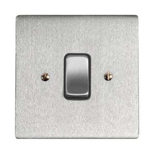 1 Gang 2 Way 10A Rocker Grid Switch in Satin Chrome and Black Plastic Trim Stylist Grid Flat Plate