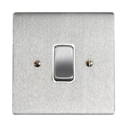1 Gang 2 Way 10A Rocker Grid Switch in Satin Chrome and White Plastic Trim Stylist Grid Flat Plate