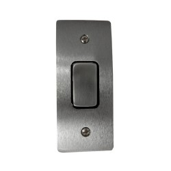 1 Gang Architrave 20A Rocker Grid Switch in Satin Chrome and Black Plastic Trim Stylist Grid Flat Plate