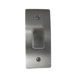 1 Gang Architrave 20A Rocker Grid Switch in Satin Chrome and White Plastic Trim Stylist Grid Flat Plate