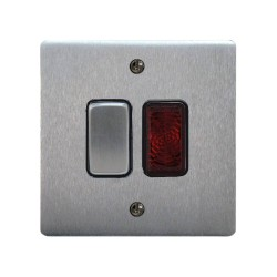 1 Gang 20A Double Pole Switch with Neon in Satin Chrome and Black Plastic Trim Stylist Grid Flat Plate