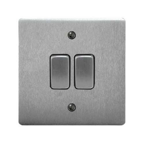2 Gang 2 Way 10A Rocker Grid Switch in Satin Chrome and Black Plastic Trim Stylist Grid Flat Plate