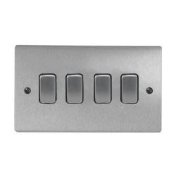 4 Gang 2 Way 10A Rocker Grid Switch in Satin Chrome and Black Plastic Trim Stylist Grid Flat Plate