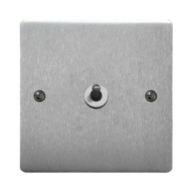 1 Gang 2 Way 20A Dolly Switch in Satin Chrome Plate and Dolly Stylist Grid Flat Plate