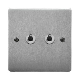 2 Gang 2 Way Dolly Switch 20A in Satin Chrome Brushed Plate and Dolly, Stylist Grid Range