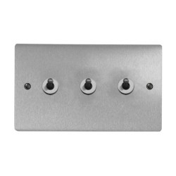 3 Gang 2 Way 20A Dolly Switch in Satin Chrome Brushed Plate and Dolly, Stylist Grid Range