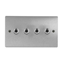 4 Gang 2 Way 20A Dolly Switch in Satin Chrome Brushed Plate and Dolly, Stylist Grid Range