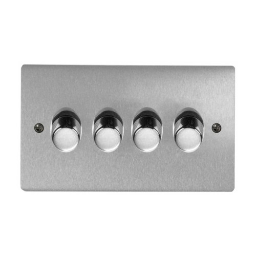 4 Gang 2 Way Dimmer Switch 400W in Satin Chrome Brushed Plate and Knob Stylist Grid Range