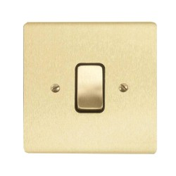 1 Gang 2 Way 10A Rocker Grid Switch in Satin Brass Brushed and Black Insert Stylist Grid Flat Plate