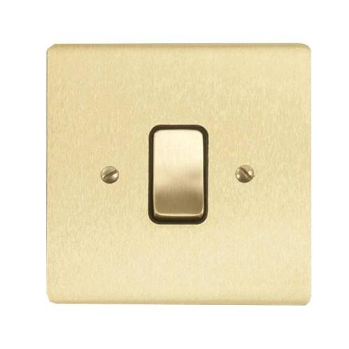 1 Gang Intermediate 20A Rocker Grid Switch in Satin Brass Brushed and Black Insert Stylist Grid Flat Plate