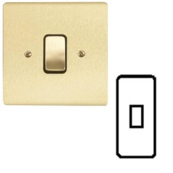 1 Gang Architrave 20A Rocker Grid Switch in Satin Brass Brushed and Black Insert Stylist Grid Flat Plate