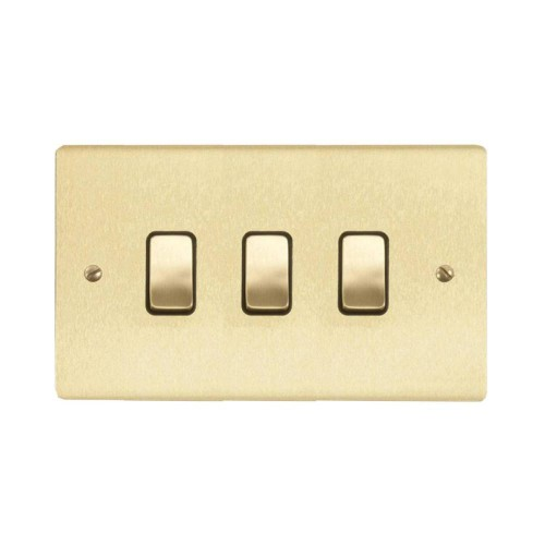 3 Gang 2 Way 10A Rocker Grid Switch in Satin Brass Brushed and Black Trim Stylist Grid Flat Plate