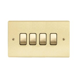 4 Gang 2 Way 10A Rocker Grid Switch in Satin Brass Brushed and Black Trim Stylist Grid Flat Plate