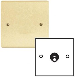 1 Gang 20A 2 Way Dolly Switch in Satin Brass Brushed Flat Plate and Dolly, Stylist Grid Range