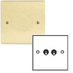 2 Gang 20A 2 Way Dolly Switch in Satin Brass Brushed Flat Plate and Dolly, Stylist Grid Range