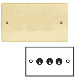3 Gang 20A 2 Way Dolly Switch in Satin Brass Brushed Flat Plate and Dolly, Stylist Grid Range