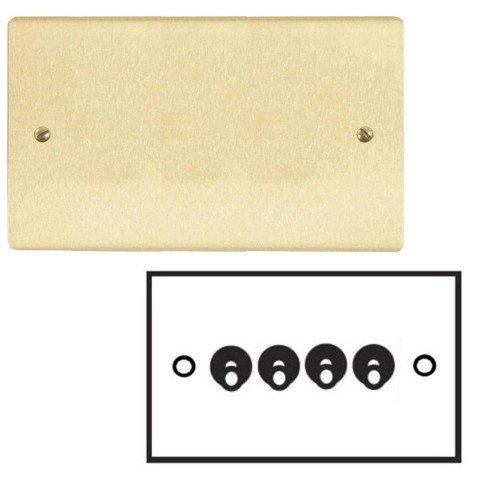 4 Gang 20A 2 Way Dolly Switch in Satin Brass Brushed Flat Plate and Dolly, Stylist Grid Range