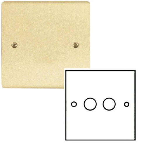 2 Gang 2 Way Dimmer Switch 400W in Satin Brass Brushed Plate and Knob, Stylist Grid Range