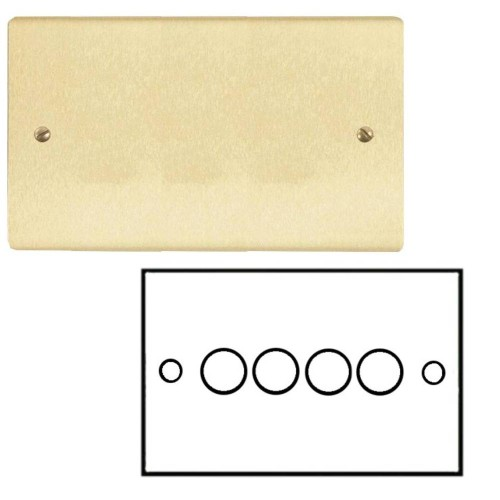 4 Gang 2 Way Dimmer Switch 400W in Satin Brass Brushed Plate and Knob, Stylist Grid Range