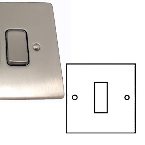 1 Gang 2 Way 10A Rocker Grid Switch in Satin Nickel Brushed and Black Plastic Insert Stylist Grid Flat Plate