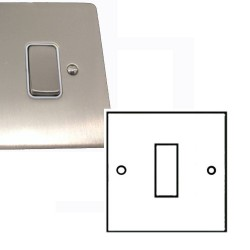 1 Gang 2 Way 10A Rocker Grid Switch in Satin Nickel Brushed and White Plastic Insert Stylist Grid Flat Plate