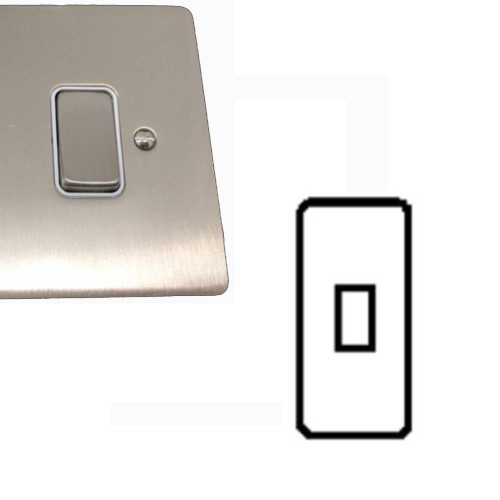 1 Gang Architrave 20A Rocker Grid Switch in Satin Nickel Brushed and White Plastic Trim Stylist Grid Flat Plate
