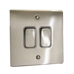 2 Gang Intermediate 20A Rocker Grid Switch in Satin Nickel Brushed and White Plastic Trim Stylist Grid Flat Plate