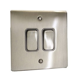 2 Gang 2 Way 10A Rocker Grid Switch in Satin Nickel Brushed and White Plastic Trim Stylist Grid Flat Plate