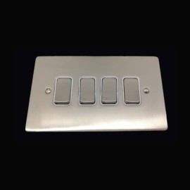 4 Gang 2 Way 10A Rocker Grid Switch in Satin Nickel Brushed and White Plastic Trim Stylist Grid Flat Plate