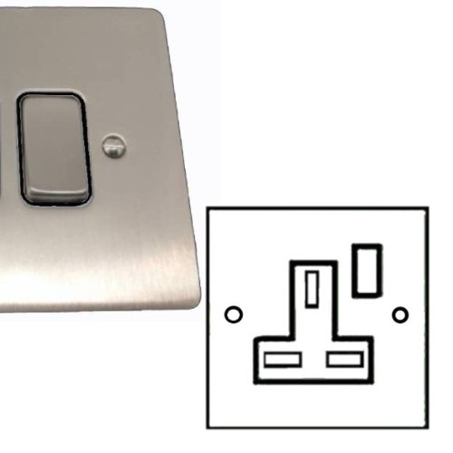 1 Gang 13A Switched Single Socket in Satin Nickel Brushed and Black Plastic Trim Stylist Grid Flat Plate